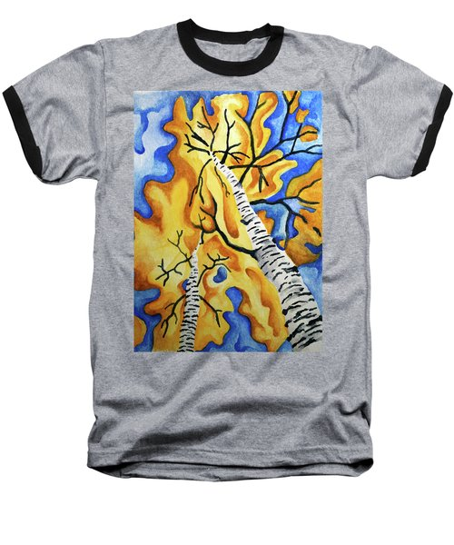 Two White Birches In Autumn  Baseball T-Shirt