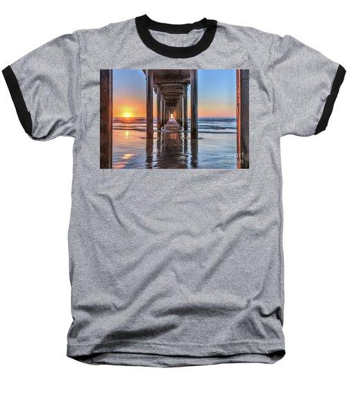Under Scripps Pier At Sunset  ..autographed.. Baseball T-Shirt