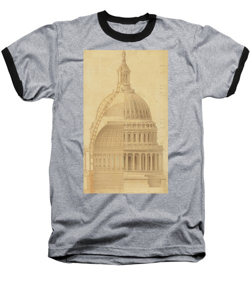United States Capitol, Section Of Dome, 1855 Baseball T-Shirt