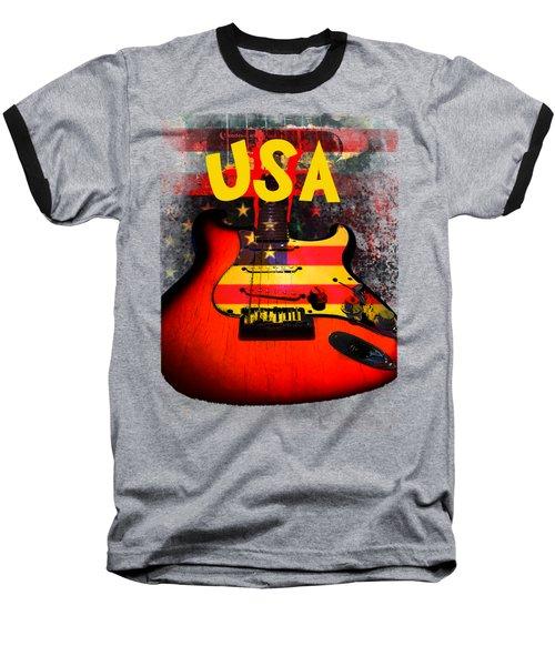 Baseball T-Shirt featuring the digital art Usa Flag Guitar Purple Stars And Bars by Guitar Wacky