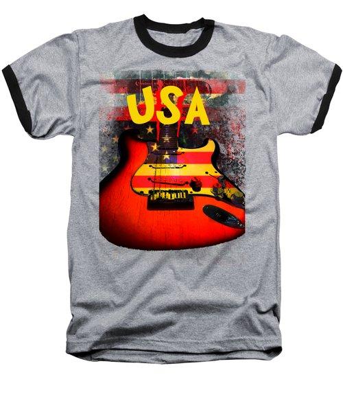 Usa Flag Guitar Purple Stars And Bars Baseball T-Shirt
