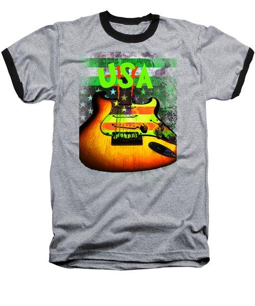 Usa Strat Guitar Music Green Theme Baseball T-Shirt