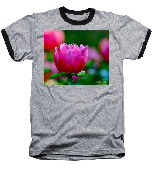 Vibrant Pink Peony Baseball T-Shirt