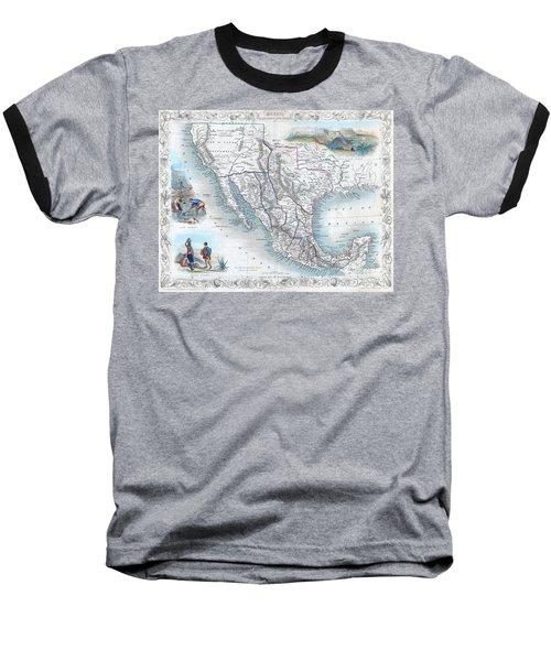 Vingage Map Of Texas, California And Mexico Baseball T-Shirt