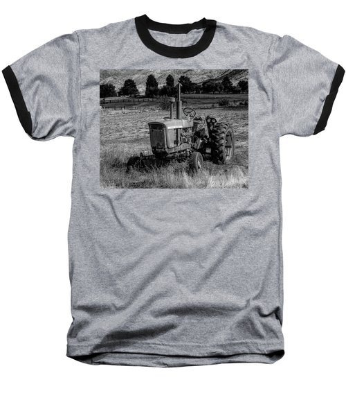 Vintage Tractor In Honeyville Bw Baseball T-Shirt