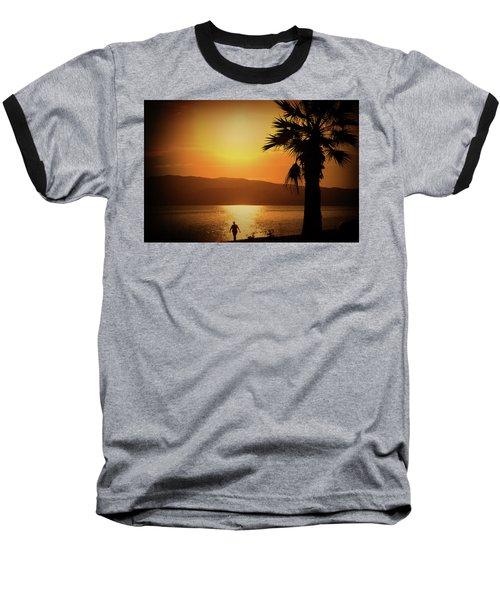 Baseball T-Shirt featuring the photograph Walking Down The Beach by Milena Ilieva