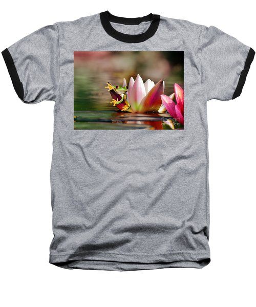 Water Lily And Frog Baseball T-Shirt