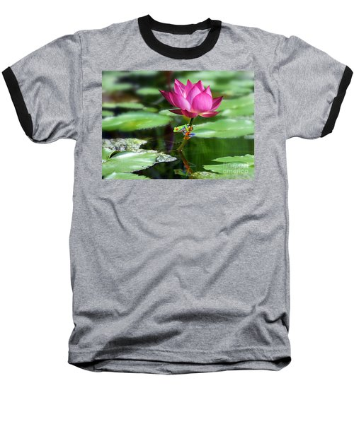 Water Lily And Little Frog Baseball T-Shirt