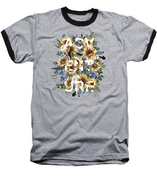 Watercolour Sunflowers Adventure Typography Baseball T-Shirt