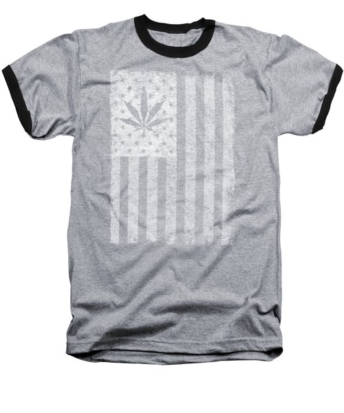 Weed Leaf American Flag Us Baseball T-Shirt