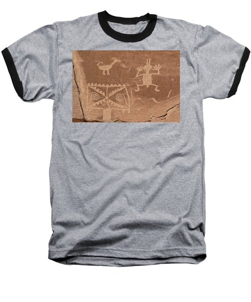 Whimsical Petroglyph Panel  Baseball T-Shirt