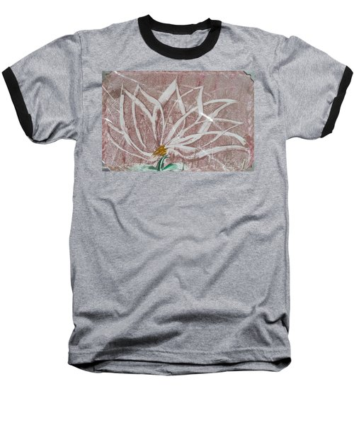 White Abstract Floral On Silverpastel Pink Baseball T-Shirt