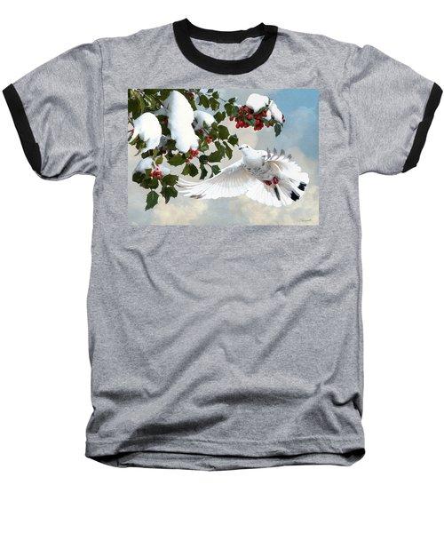 White Dove And Holly Baseball T-Shirt