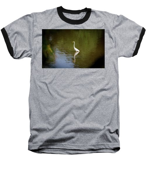 Baseball T-Shirt featuring the photograph White Egret In Water by Lora J Wilson