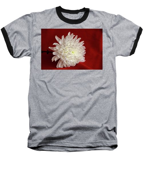White Flower On Red-1 Baseball T-Shirt