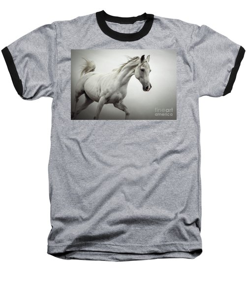 Baseball T-Shirt featuring the photograph White Horse On The White Background Equestrian Beauty by Dimitar Hristov