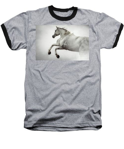 Baseball T-Shirt featuring the photograph White Horse Rearing Up by Dimitar Hristov