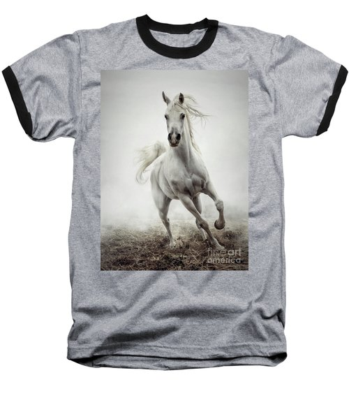 Baseball T-Shirt featuring the photograph White Horse Running In Winter Mist by Dimitar Hristov