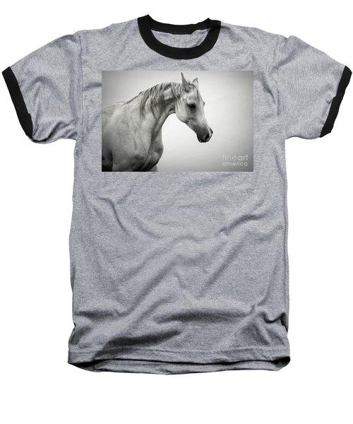 Baseball T-Shirt featuring the photograph White Horse Winter Mist Portrait by Dimitar Hristov