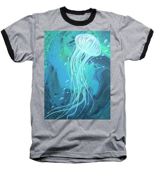 White Jellyfish Baseball T-Shirt
