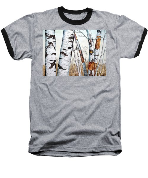 Wild Birch Trees In The Forest In Watercolor Baseball T-Shirt
