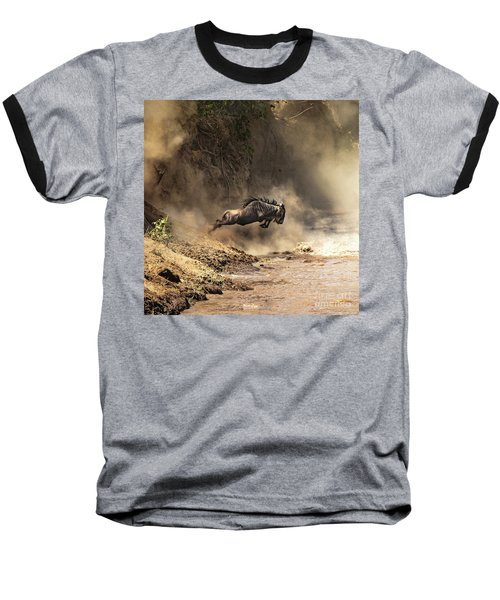 Wildebeest Leaps From The Bank Of The Mara River Baseball T-Shirt
