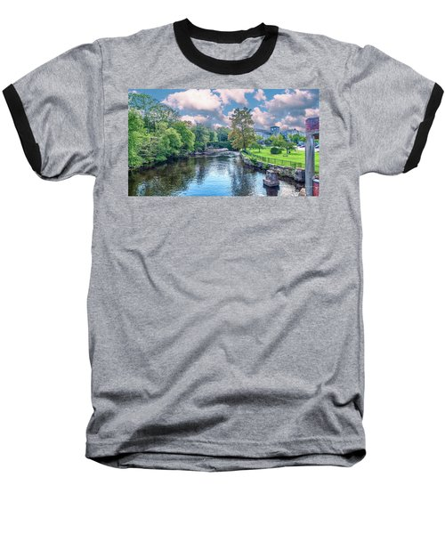 Willimantic River With Clouds Baseball T-Shirt