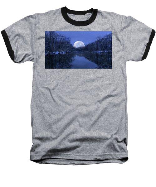 Winter Night On The Pond Baseball T-Shirt
