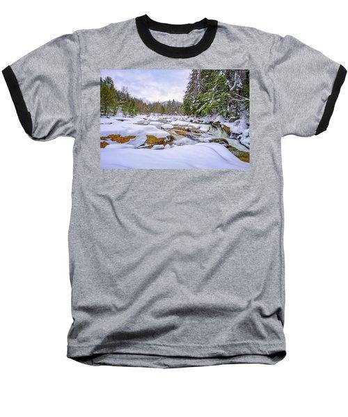 Winter On The Swift River. Baseball T-Shirt