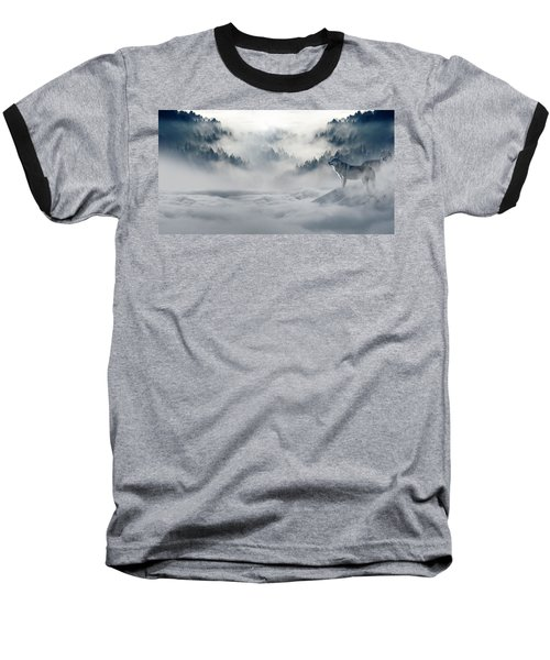 Wolfs In The Snow Baseball T-Shirt