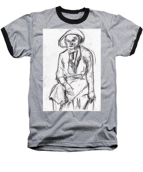 Woman In A Hat Drawing Baseball T-Shirt