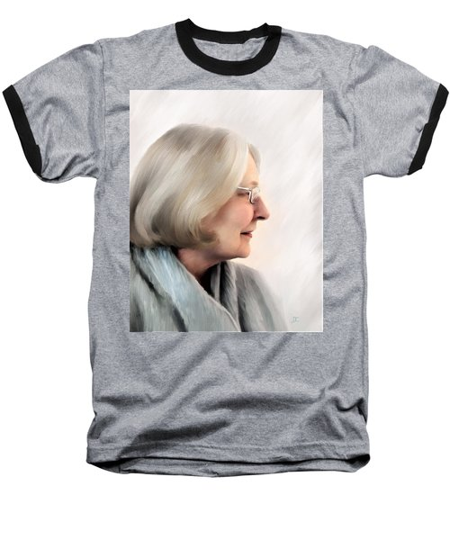 Woman In Grey Baseball T-Shirt