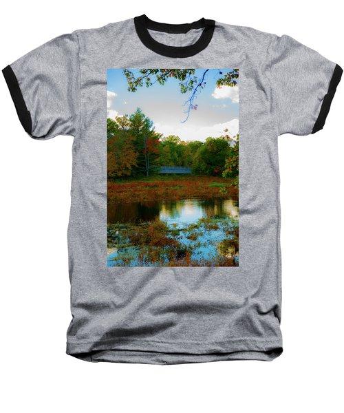Wood Bridge In The Fall Baseball T-Shirt