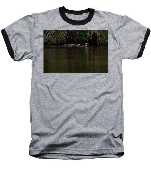 Wood Duck And Ducklings Baseball T-Shirt