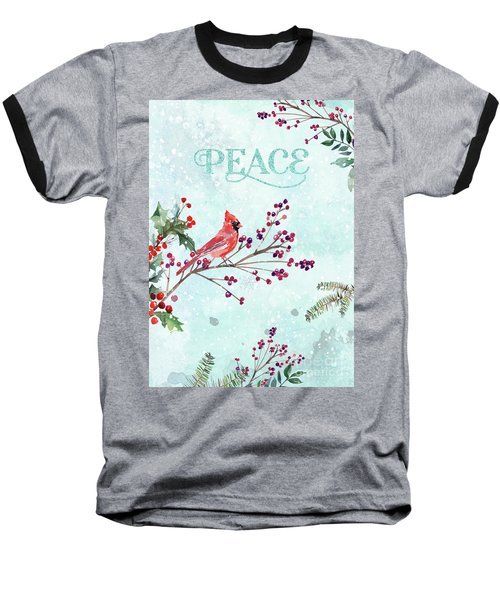 Woodland Holiday Peace Art Baseball T-Shirt