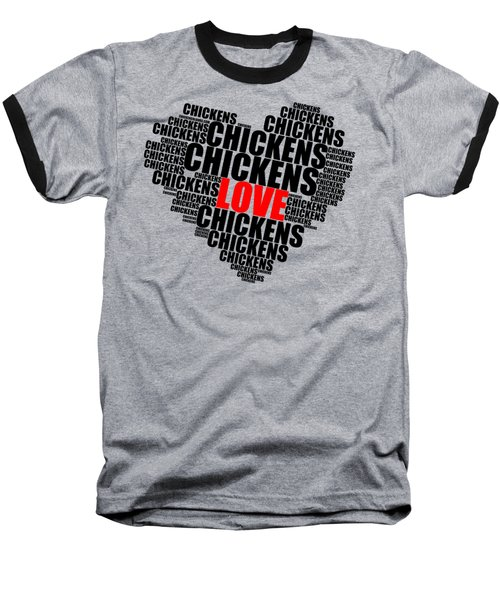 Wordcloud Love Chickens Black Baseball T-Shirt