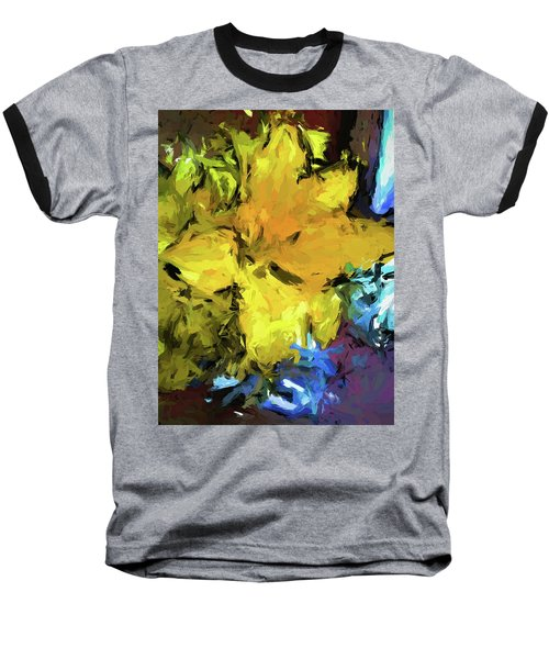 Yellow Flower And The Eggplant Floor Baseball T-Shirt