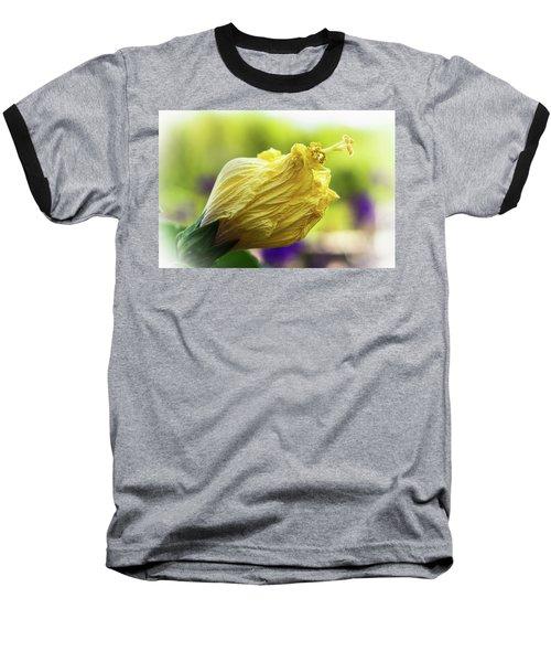 Yellow Mature Hibiscus  Baseball T-Shirt