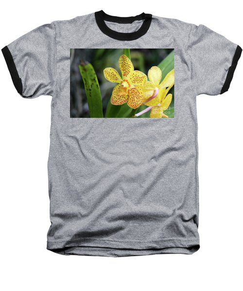 Yellow Spotted Orchids Baseball T-Shirt