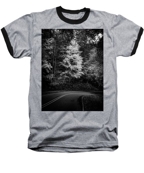 Yellow Tree In The Curve In Black And White Baseball T-Shirt