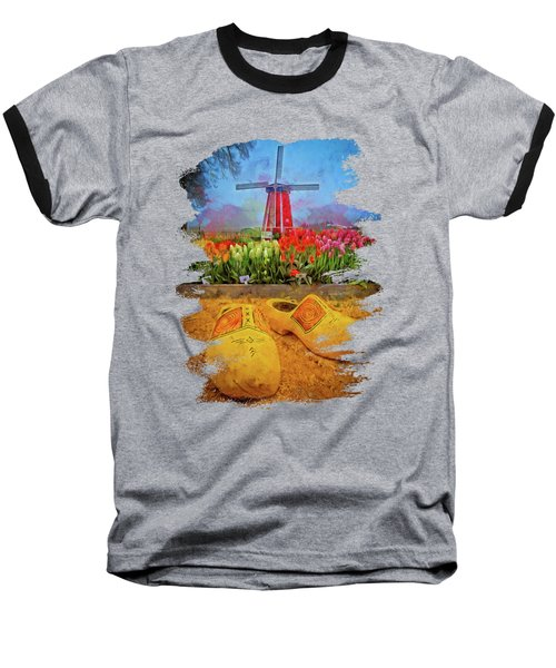 Yellow Wooden Shoes Baseball T-Shirt