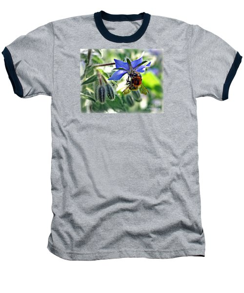Baseball T-Shirt featuring the photograph Bee On Borage by Morag Bates