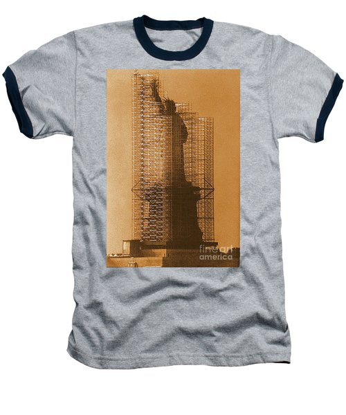 Baseball T-Shirt featuring the photograph Lady Liberty Statue Of Liberty Caged Freedom by Michael Hoard