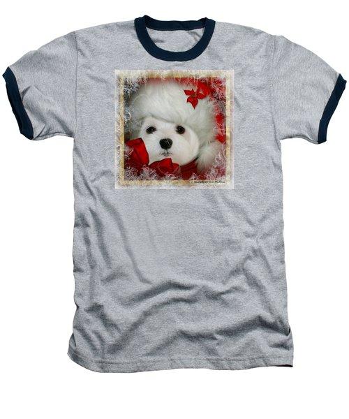 Baseball T-Shirt featuring the mixed media Snowdrop  And  Santa Hat by Morag Bates