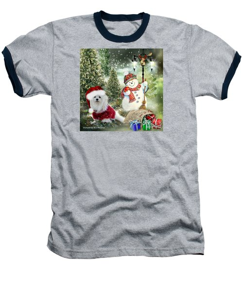 Baseball T-Shirt featuring the mixed media Snowdrop And The Snowman by Morag Bates
