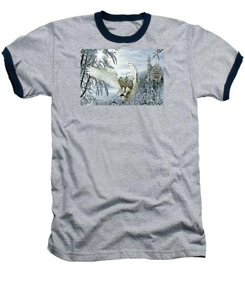 Baseball T-Shirt featuring the mixed media Snowy Owl by Morag Bates