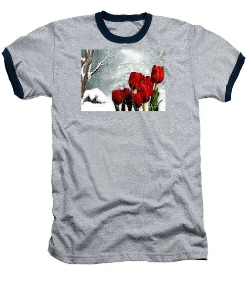 Baseball T-Shirt featuring the mixed media Winter Tulips by Morag Bates
