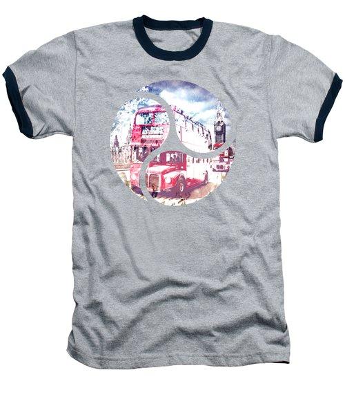 Graphic Art London Westminster Bridge Streetscene Baseball T-Shirt by Melanie Viola