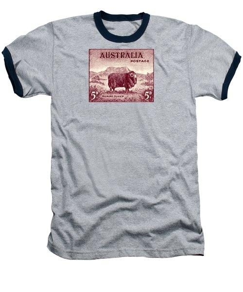 1946 Australian Merino Sheep Stamp Baseball T-Shirt by Historic Image