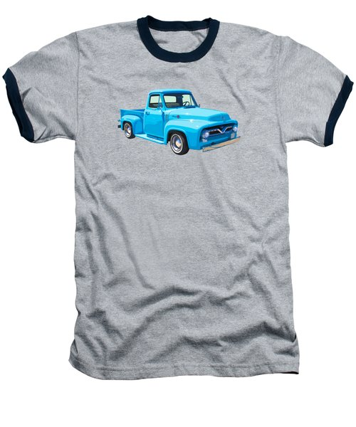 1955 Ford F100 Blue Pickup Truck Canvas Baseball T-Shirt by Keith Webber Jr